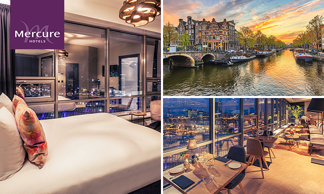 Overnachting voor 2, 3 of 4 + ontbijt + drankje in Amsterdam