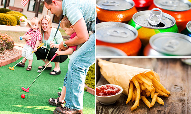 Midgetgolf + friet + snack + fris