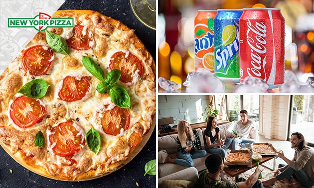 New York Pizza naar keuze + blikje fris