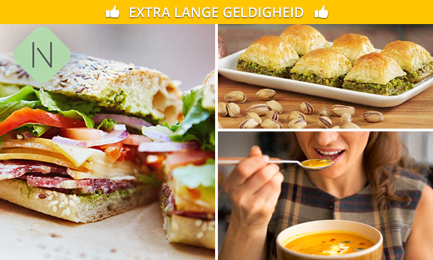 Afhalen: broodje + soep + baklava