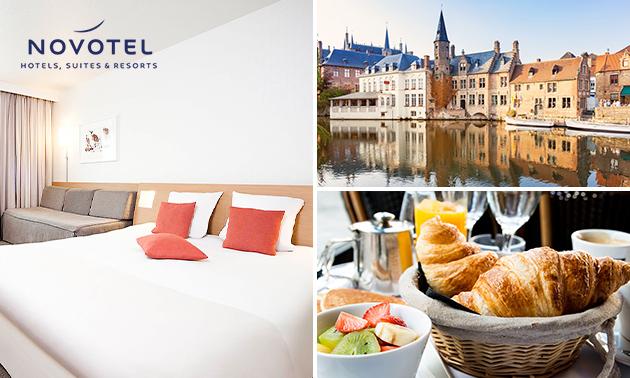 Overnachting voor 2 + ontbijt + stadskaart in hartje Brugge