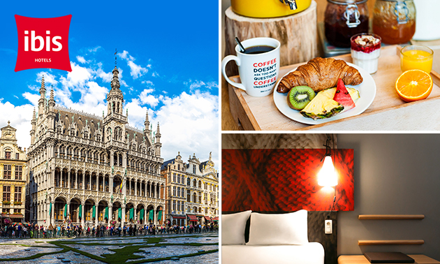Luxe overnachting voor 2 + ontbijt + late check-out in Brussel