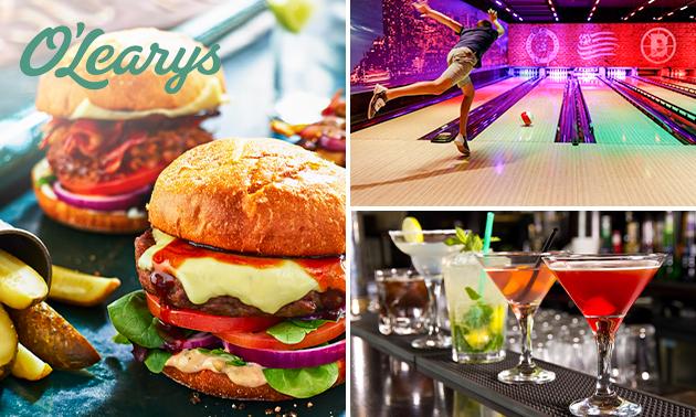 1 uur bowlen + diner + cocktail bij O'Learys