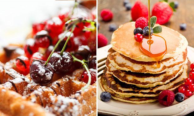 Afhalen: suikerwafel of pannenkoek + warme drank