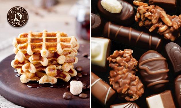 Luikse wafel + chocolademelk + 2 pralines naar keuze
