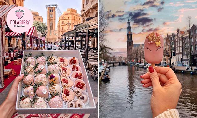 Afhalen: box met aardbeien en macarons in hartje Rotterdam
