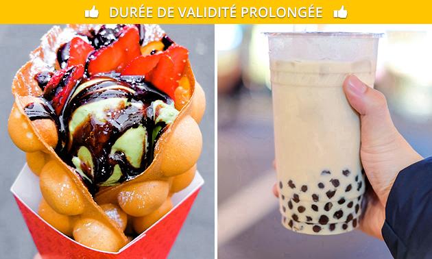 Bubble tea + bubble waffle au coeur de Liège