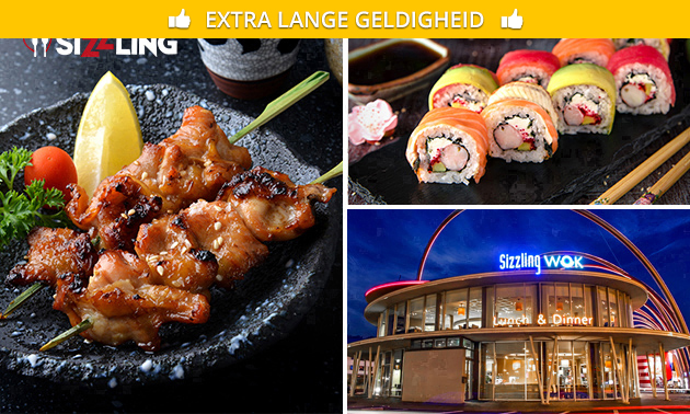 All-You-Can-Eat & Drink (3 uur) sushi & wok + gratis parkeren