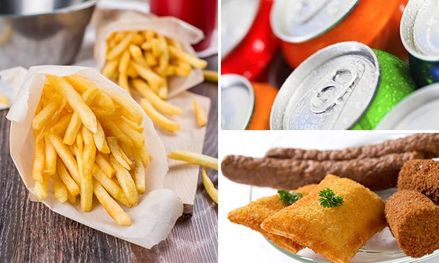 Friet + snack + blikje fris voor 1, 2 of 4 personen