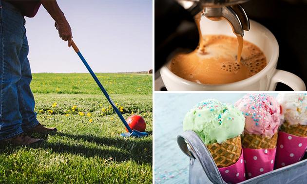 Spel boerengolf + koffie/thee + koek + ijs