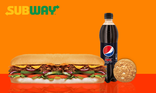Afhalen bij Subway: Sub (30 cm) + drankje + cookie