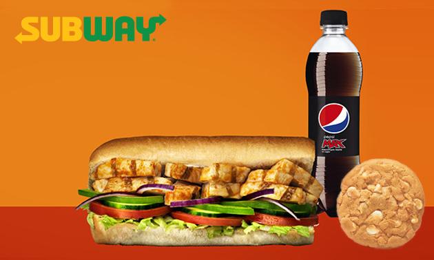 Broodje bij Subway + frisdrank + cookie/chips
