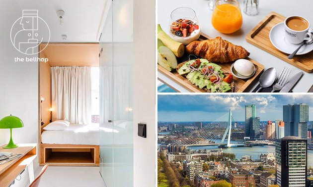 Vip-overnachting voor 2 + ontbijt + late check-out in hartje R'dam