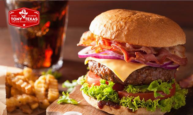 Burger naar keuze + frietjes + frisdrank