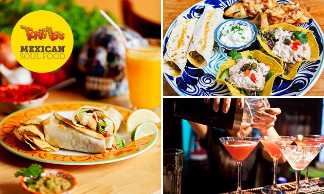 Cocktail- of tequilaproeverij + borrelplank bij Tortillas