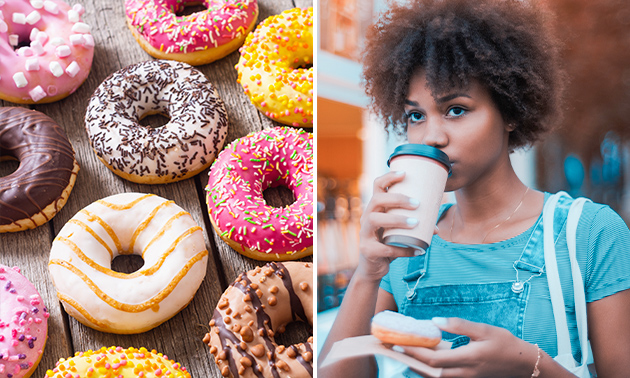 Afhalen: donut + warme drank naar keuze óf 6 donuts