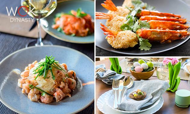 Afhalen: lentebox met 3-gangen shared dining bij Wok Dynasty