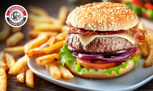 Burger naar keuze + friet + salade bij WorldBurger