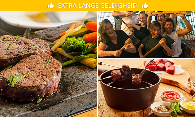 Bijlwerpen (1 uur) + All-You-Can-Eat steengrillen of fonduen