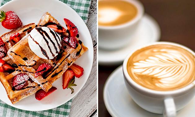 Wafel met topping + koffie/thee
