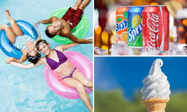 Entree voor Zwembad Zegenwerp + fris + ijs/chips